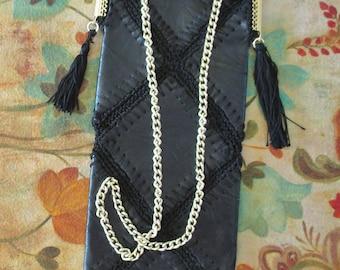 "Mod 60s Purse Fringe Tassels, Long Skinny Black Faux Leather Bag, 16"" Gold Chain Strap Gold Frame Snap Closure Stitching Black Boho Bag"