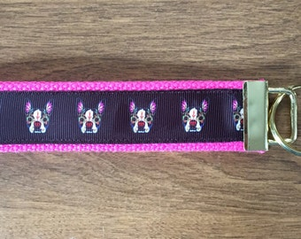 Sugar Skull Boston Terrier Key Chain Zipper Pull Wristlet