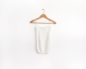 Vintage white knit cami with tie straps