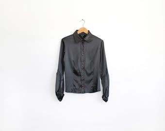 Vintage minimal charcoal silk shirt with gathered bishop sleeves