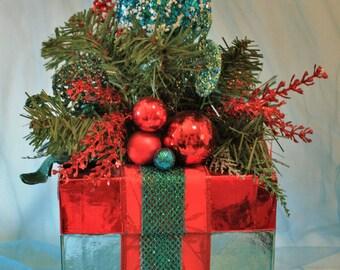 Red and Aqua Christmas Box