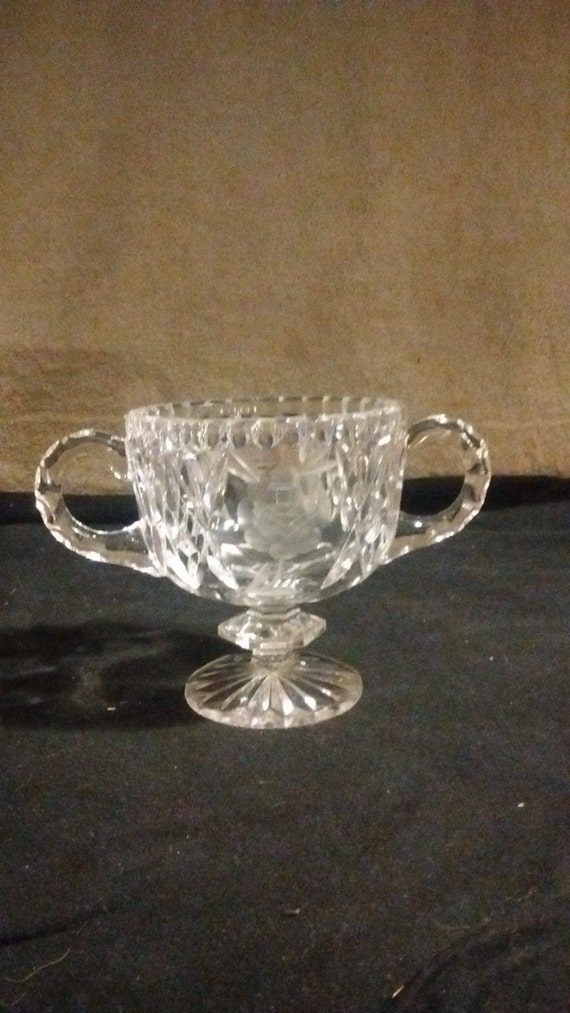Cut glass Sugar bowl with etched floral pattern two handles