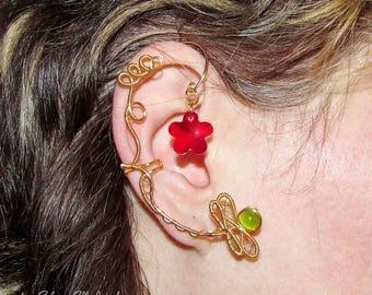 Happy Days ear cuff, dragonfly ear cuff, Swarovski flower, no piercing earring, wire ear cuff, Dryad ear cuff, elvish jewelry, cuff earrings