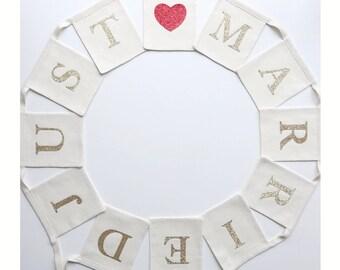 Just Married Wedding Bunting - Glitter Letter Wedding Banner - Linen Wedding - Wedding Reception Decor - Personalised Wedding Bunting