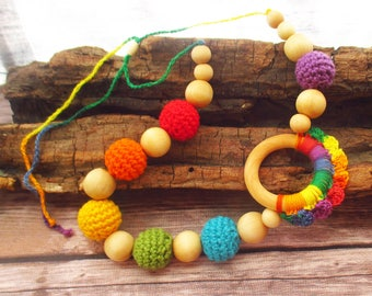 Natural Nursing Teething necklace / crochet and wood