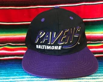 VTG 90s Baltimore Ravens Black and Purple Snapback hat