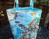 Map of the World oilcloth tote / book / shopping bag