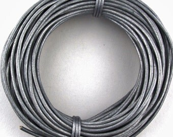 3 Yards of Natural Dark Grey or Black Leather Cord 2mm