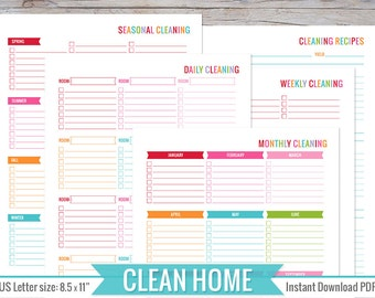 Cleaning Planner 8 5 X 11 Printable Perfect For Home Binder Cleaning Schedule Routine Planner Printable