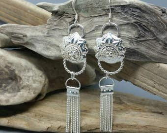 Tassle earrings, handmade silver earrings, chandelier earrings, dangly earrings, boho jewellery, statement jewellery, sterling silver
