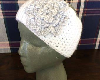 White Headband | White Headwarmer | White Earwarmer | Grey Flower Headband | Grey Flower Earwarmer | Button Earwarmer | Button Headband