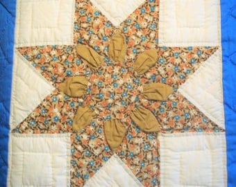 Hand Quilted - Machine Pieced - Quilt- Blues and Browns- 3 Dimensional