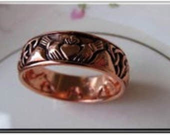 Solid Copper Claddagh Band Ring CTR3355 Available in sizes 4, 5, 6 ,7, 8, 9, 11, 14, 15 - 5/16 of an inch wide.