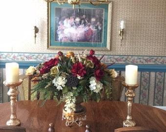 Floral Arrangement, Large Elegant Floral Centerpiece, SHIPPING INCLUDED, Dining Room Table, Mantel, Foyer Modern Silk Rose Arrangement