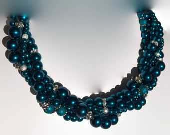 Pearl Bridal Jewelry - Vintage Bridal - Chunky Necklace - Wedding Jewelry - Bridesmaid Jewelry - Tahitian Blue Pearl - Textured Pearl Jewelr