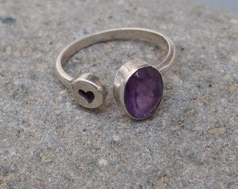 """Sterling Silver and Amethyst Ring with """"Heart"""""""