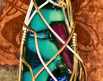 Beautiful Dichroic Fused Glass Pendant with Sterling Silver Artistic Wire Wrapping
