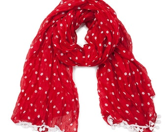 Red & White Pom Pom Scarf - Originally 15.00