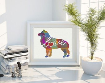 Schipperke Love - A Colorful Watercolor Print - Gift for Dog Lovers - Pet Artwork - Pet Loss Gift - Memorial - That Can be Personalized