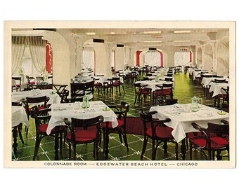 Chicago Illinois vintage postcard | Edgewater Beach Hotel, Colonnade Room | 1950s IL travel scrapbook, 50s vacation souvenir | North Side