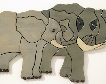Elephant, Wood Sculpture, Wall Art, African, Intarsia, Wood Working