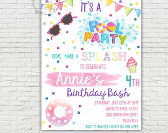 Pool Party Invitation - Swimming Pool Birthday Party - Pool Party - Swimming Birthday - Swimming Party - Instant download - EDITABLE at home