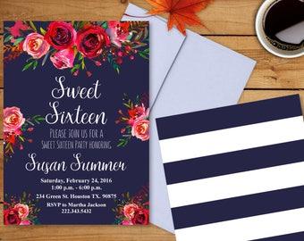 Sweet Sixteen Invitation - Sweet 16 Invites - Floral Bridal Shower - Flowers Invitation - Navy Blue Invitation