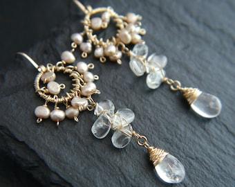 Bohemian Wedding, Aquamarine Earrings, Freshwater Pearls, Gold Filled Earrings, Gemstone Earrings, Teardrop Earrings, Cluster Earrings, Boho