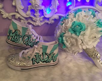 Quinceanera Flower Bouquet And Shoes