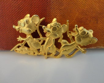 Vintage Signed JJ Silver pewter Three Blind Mice Brooch/Pin