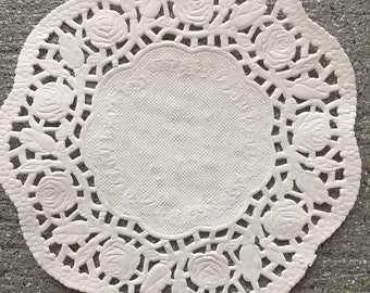 """100 Off-White 5.5"""" Paper Lace Doilies Rose Design Wedding Doily"""