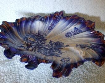 Vintage Flow Blue & White Pottery Leaf Form Dish Floral Pattern Sponged Gilt edges.
