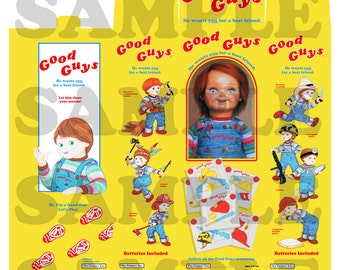 """The Best Qualiry Chucky Good Guy Doll Replica Miniature Prop Box 7.5"""" Tall - NO DOLL!!!!!"""