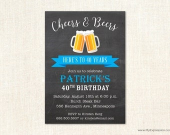 Cheers & Beers Birthday Party Invitations - Pub Party Birthday Invitations - Digital or Printed