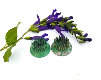 Two Small Vintage Flower Frogs, Pair of Tiny Spiked Floral Frogs, Business Card Holders, Bouquet Anchors, Ideal Flower Holders