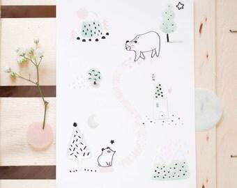 """Affichette -Grande carte-""""La traversée des ours blancs""""/ Illustration/Animaux - Forêt - Nature - Hiver/ Pastel - Mint/Noël - Carte de voeux"""