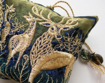 FOREST HART, Embroidered,  Lavender pouch, Stag, Deer, Dark Blue, Olive, Silvergold, gift for Hostess, Birthday, Christmas, Winter.