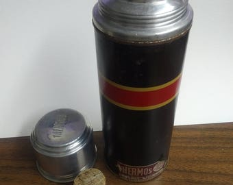 Vintage Black Thermos Brand Bottle with cork
