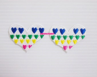 Set 2pcs. Colorful Hearts New Sew / Iron On Patch Embroidered Applique Size 4.2cm.x3.4cm.