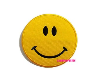 Smiley Face Yellow Patch New Sew / Iron On Patch Embroidered Applique Size 7.3cm.x7.3cm.