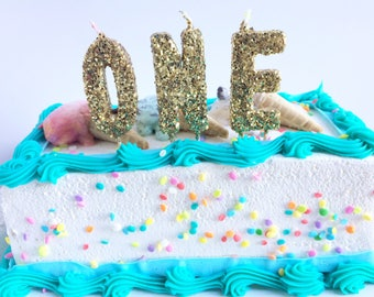 Gold Glitter One Birthday Toothpick Candles-First Birthday Candles-Gold Birthday Candles-Cake Glam