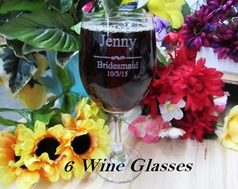 Set of 6 Personalized Wine Glasses // Wedding Reception Dinner Toasting Glasses for Bridesmaid, Groomsmen, Best Man, Maid of Honor, & More