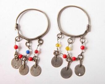 Old rural Berber hoop earrings with 19th C coins