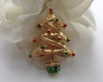 Christmas Tree Brooch Pin Enamel Balls Green Red Gold Tone Christmas Stocking Stuffer Secret Santa Holiday Vintage Teacher Festive Xmas