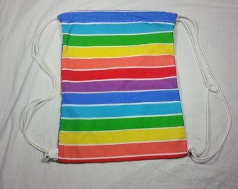 SALE! Drawstring Bag Made With Rainbow Stripe Fabric, Rainbow Bag, Rainbow Fabric, Awesome Bag, Colorful Bag, Striped Bag