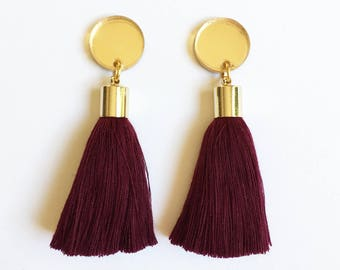 Burgundy tassel earrings. Gold mirror acrylic laser cut earrings with burgundy tassels