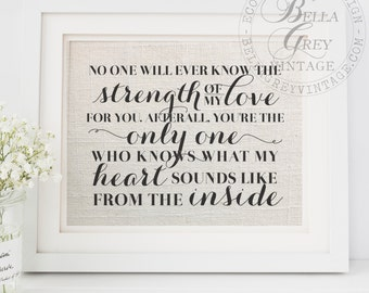 Strength of My Love for You You're the Only One Who Know What My Heart Sounds Like From Inside - Mother's Day Gift Art Print Nursery Sign
