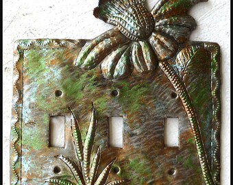 Flower Switch Plate Cover - Iridescent Metal Switchplate, Triple Metal Light Switch Cover, Switchplate Covers,  Metal Art - SP-119-3-IR