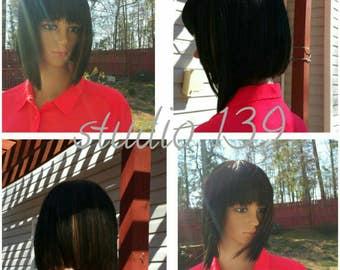 Custom made human hair bob wig made in the usa