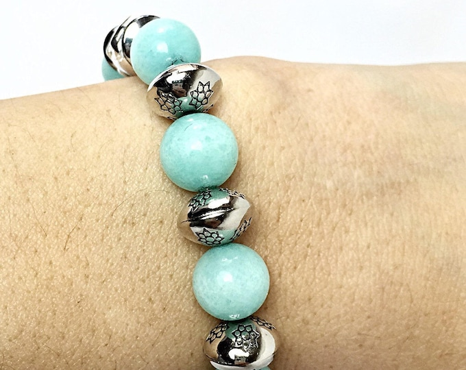 Green bracelet - Elephant bracelet - Aqua bracelet - Stretch Bracelet - Blue bracelet - Aqua blue bracelet - Light green bracelet